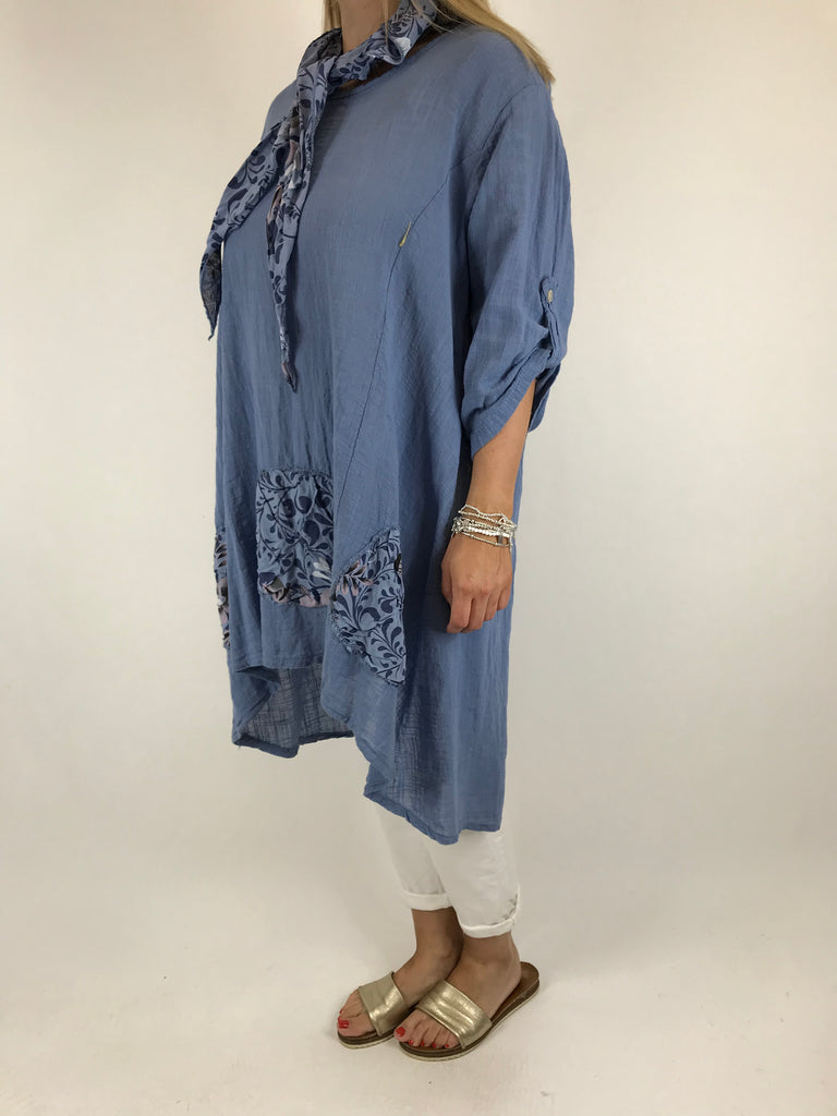 Lagenlook Scarf Flower Top in Denim . code 5700