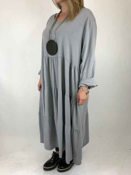 Lagenlook Evie Plain Tunic In Pale Grey. code p9788