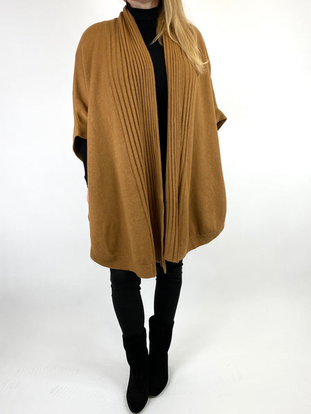 Lagenlook Perry Cable Edge Knitted Cardigan in Camel. code 2728 - Lagenlook Clothing UK