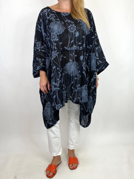 Lagenlook Rachel Flower Top In Black. code 6363