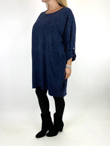Lagenlook Jo Leopard Fade Print Sweatshirt Top in Navy. code 66237 - Lagenlook Clothing UK