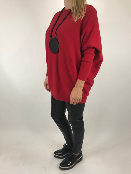 Lagenlook Piper Ribbed Plait Back Jumper in Red. code 5933