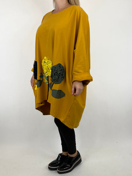 Lagenlook Corolla Flower Hem Sweatshirt in Mustard. code 909691 - Lagenlook Clothing UK