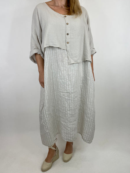 Lagenlook Lucy Stripe Over tank Tunic in Cream. Code 88213