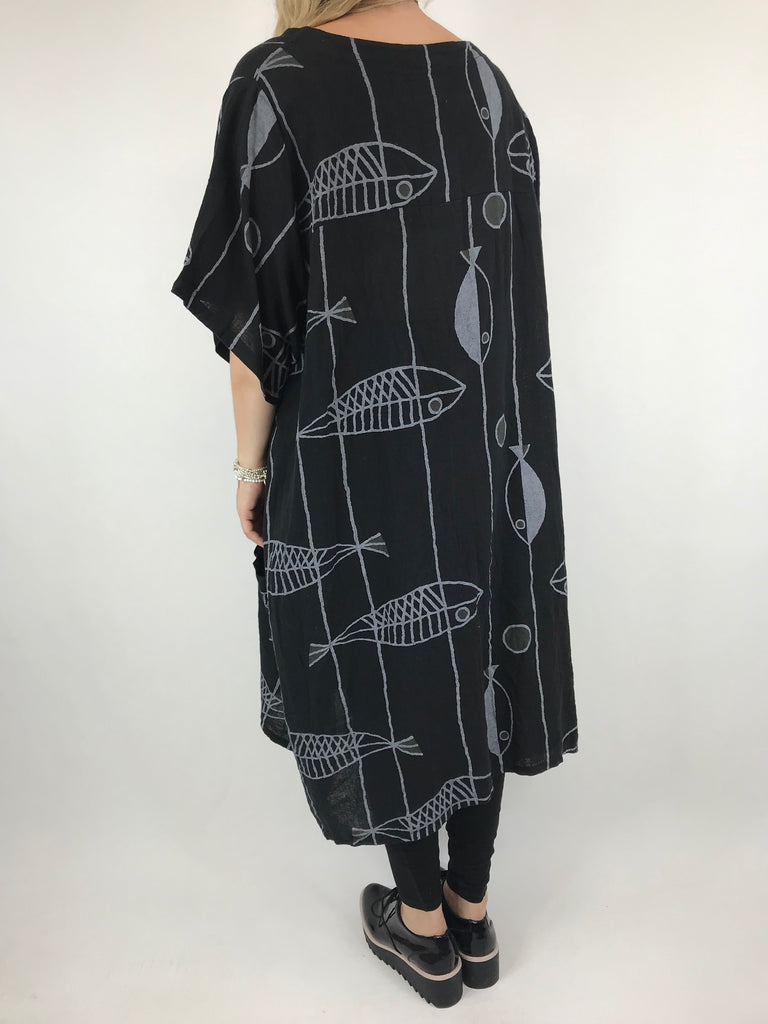 Lagenlook Linen Blend Quirky Patterned Tunic in Black. code 39113