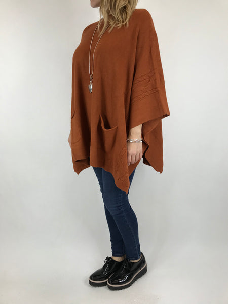 Lagenlook Button Side Poncho Jumper in Rust. code 5922