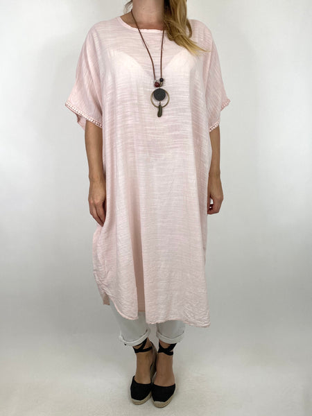 Lagenlook Anto Summer Cotton Tunic in Pale pink code 9002