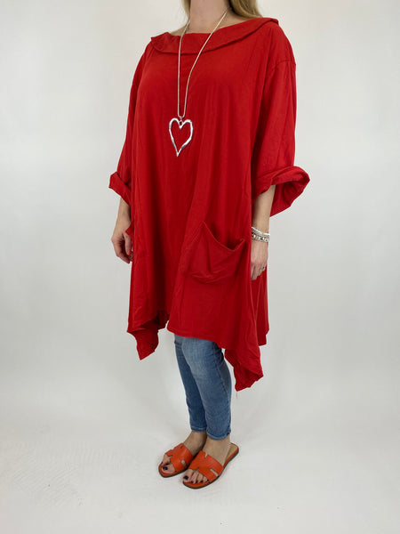 Lagenlook Felicity Sweatshirt Collared Top in Red. code 7449 - Lagenlook Clothing UK
