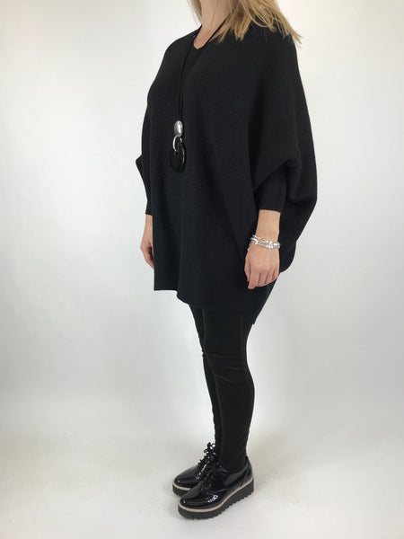 Lagenlook Oxford V-Neck Rib Jumper in Black. code 6029