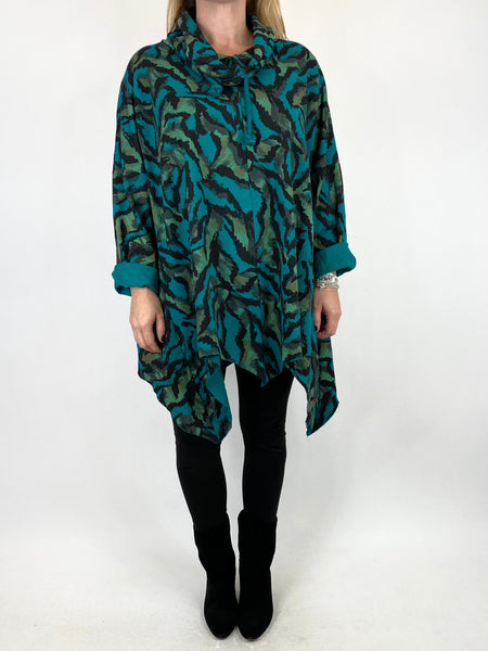 Lagenlook Animal Print Cowl Top in Teal. code 50002