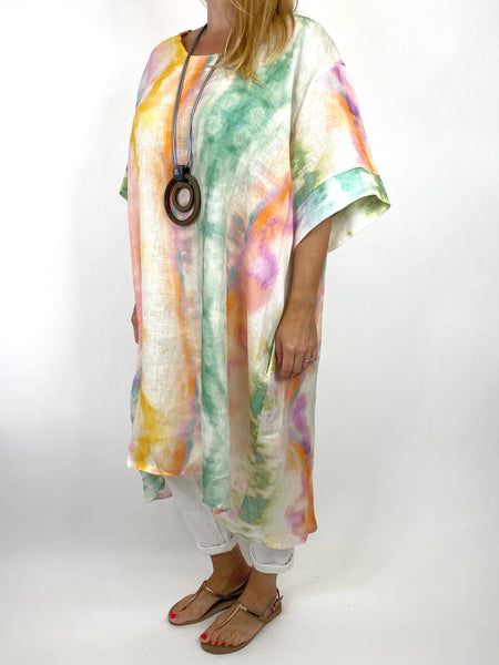Lagenlook  Bernie Tie-Dye Linen Tunic in Lilac/Green Mix . code 9611