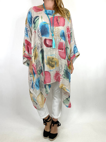 Lagenlook Gabby Patterned Top in Cream. code 6207