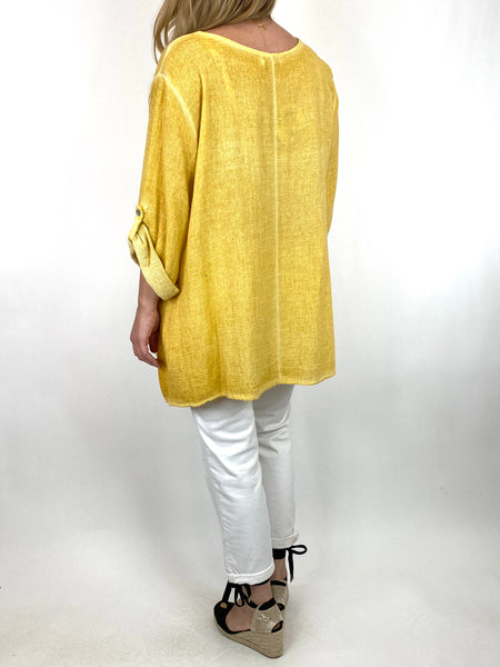 Lagenlook Acidwash Star top in Mustard. code 10052