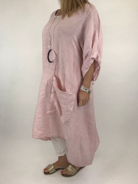 Lagenlook Misha Linen Tie back Tunic in Pale Pink. code 20511