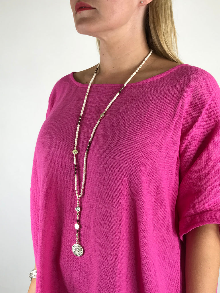 Lagenlook Rose Gold & Cream coin  Necklace .code N0110