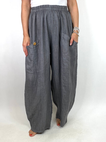 Lagenlook Eliza Wide leg Linen Trousers in Charcoal. code 6503