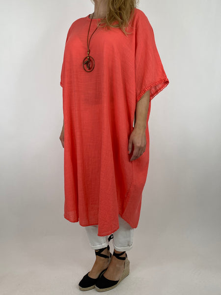 Lagenlook Anto Summer Cotton Tunic in Coral. code 9002