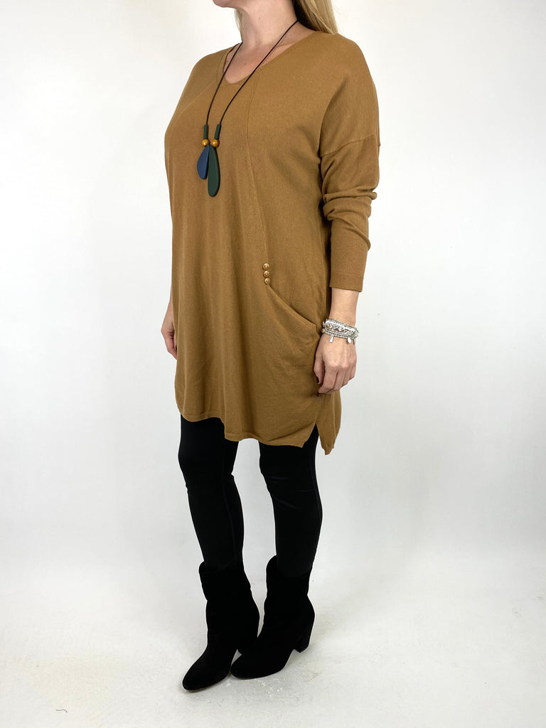 Lagenlook Tib Three Button Detail Jumper in Camel. code 2606