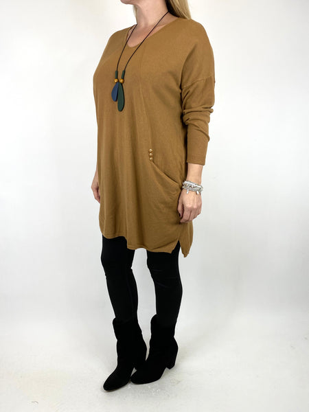 Lagenlook Tib Three Button Detail Jumper in Camel. code 2606 - Lagenlook Clothing UK