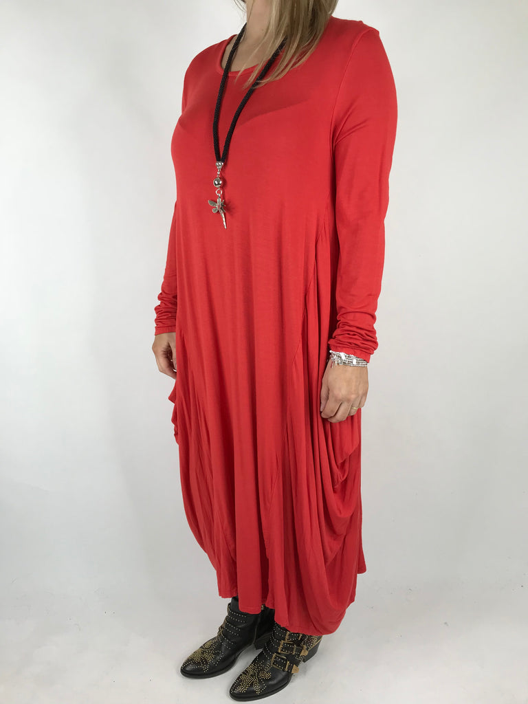 Lagenlook Tilly Long Jersey Tunic in Red. code 1553