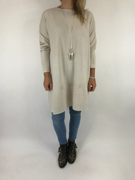 Lagenlook Diaz Star Jumper in Winter Cream. Code 5367