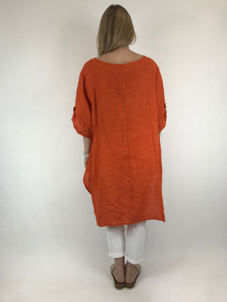 Lagenlook 3 button Linen Top in Orange . code 5788