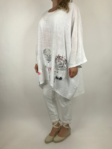 Lagenlook Dalia Flower hem in White. Code 90969