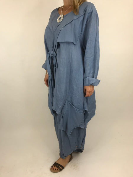Lagenlook  Linen Quirky Tie Front Top in Denim. code 5670