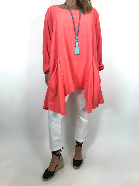 Lagenlook Libby Pocket Side Top in Coral . code 6500
