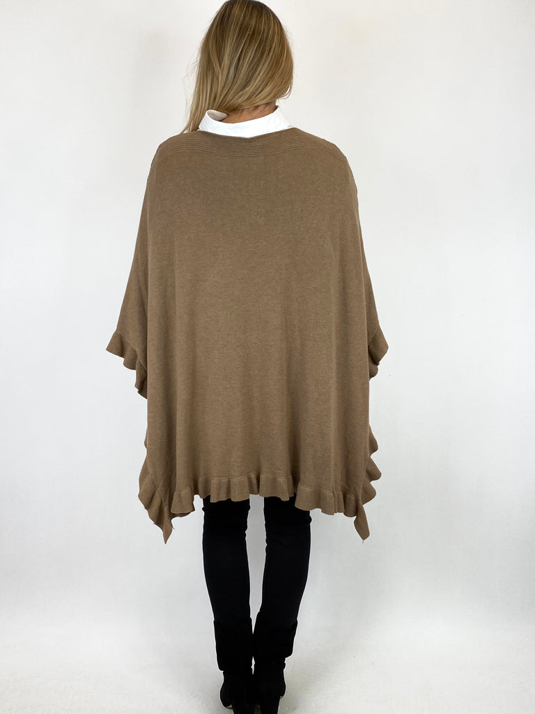 Lagenlook Morgan Open Side Frill Hem Poncho Jumper in Mocha. code 856 - Lagenlook Clothing UK