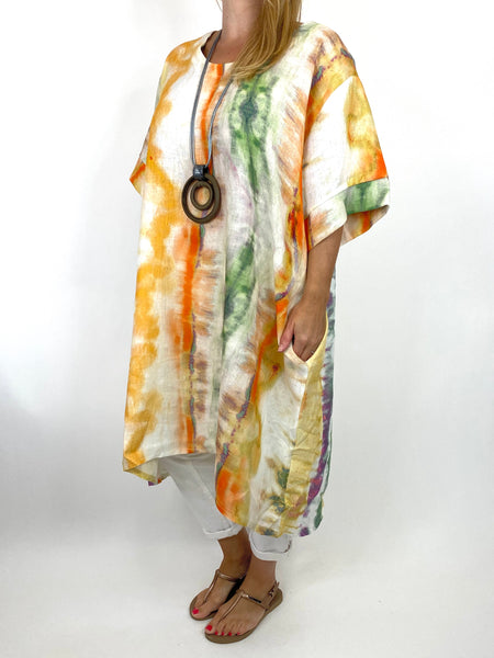 Lagenlook  Bernie Tie-Dye Linen Tunic in Purple/orange Mix . code 9611