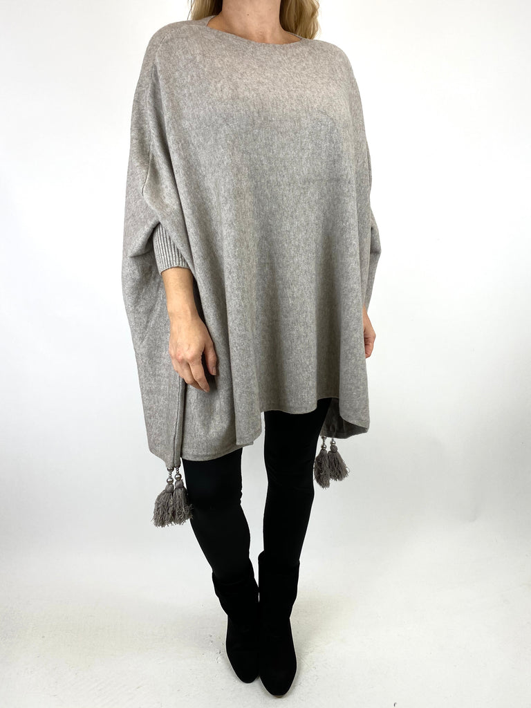 Lagenlook Ella Tassel Jumper in Cream Stone. code 2700