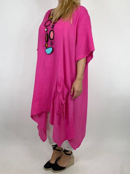 Lagenlook Molly Waffle Tie Pocket Top in Fuchsia. code 4628