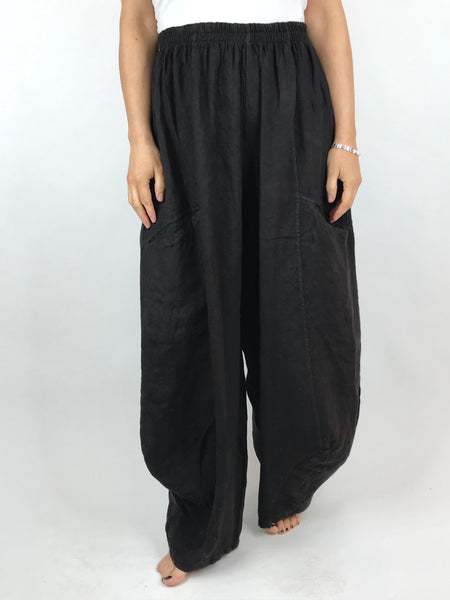 Lagenlook Alice wide Leg Linen Trousers in Black. code 4758