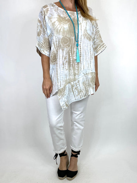 Lagenlook Tye-dye Top in White Regular Size. code 6688