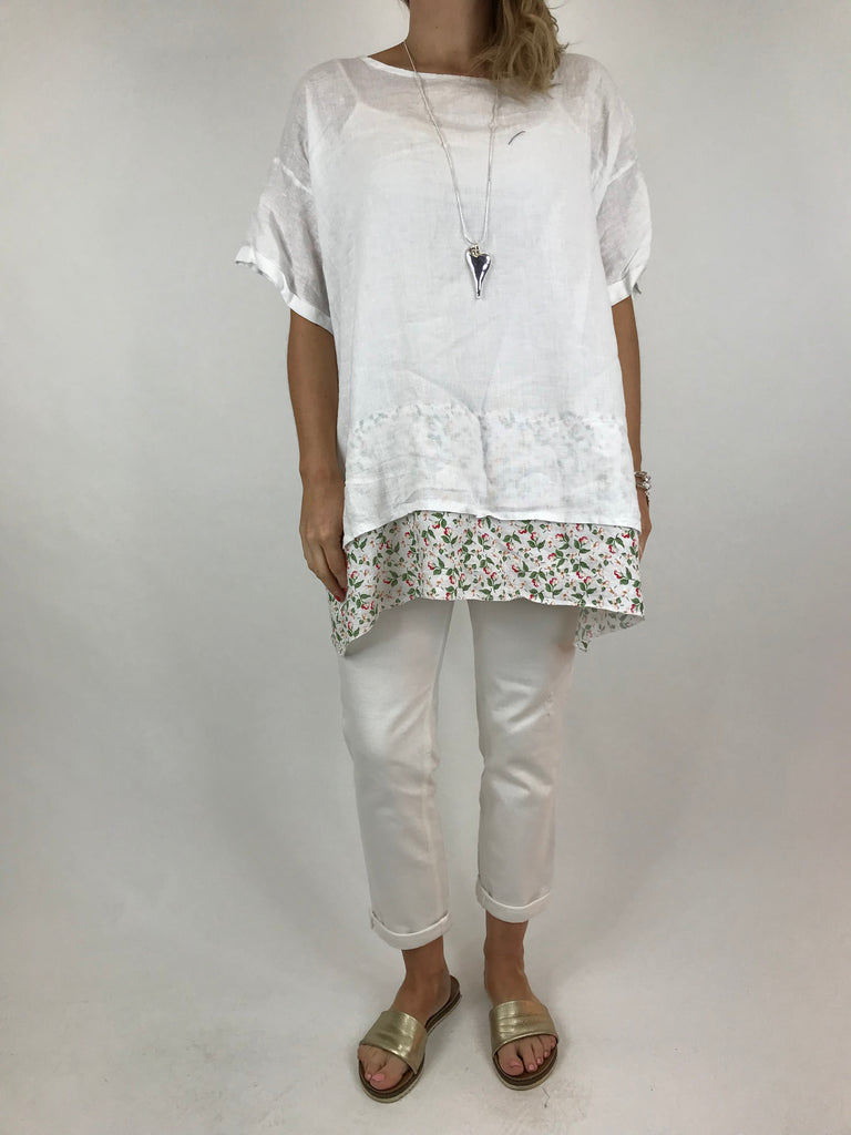 Lagenlook Ditsy Flower Hem Summer Top in White. code A1362