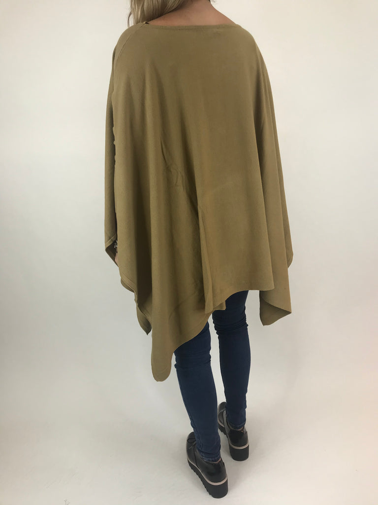 Lagenlook Knitted Poncho In Camel. code 16024