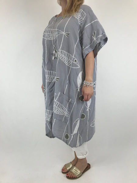 Lagenlook Sarbo Quirky Patterned Top in pale Grey. code 39114