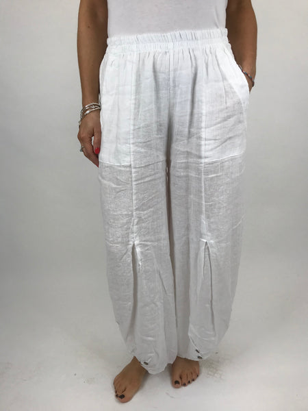 Lagenlook Linen Button Summer Trouser in White. code 5672