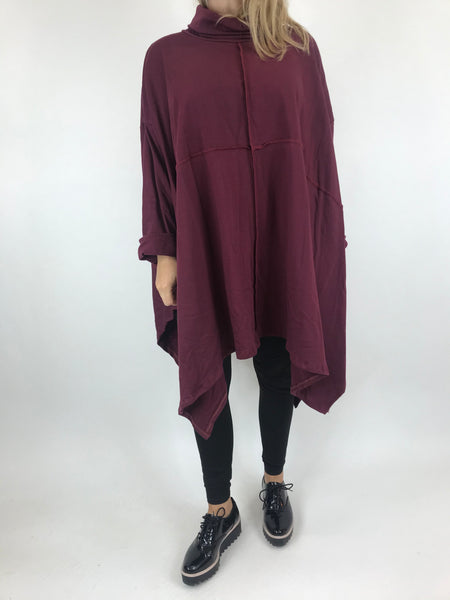 Lagenlook Crawley Cowl Neck Oversized Top in Wine.code AB128y