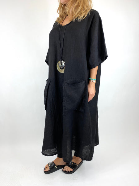 Lagenlook Deana V- Neck Linen Tunic in Black . code 8588