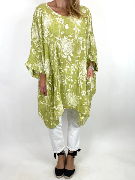 Lagenlook Rachel Flower Poncho In Lime. code 6363