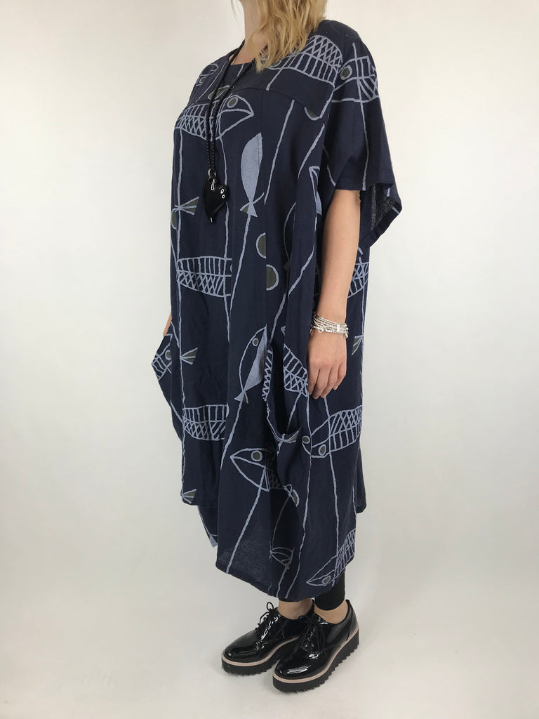 Lagenlook Linen Blend Quirky Patterned Tunic in Navy. code 39113