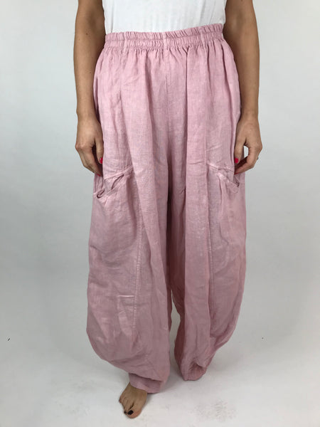 Lagenlook Alice wide Leg Linen Trousers in Pink. code 4758