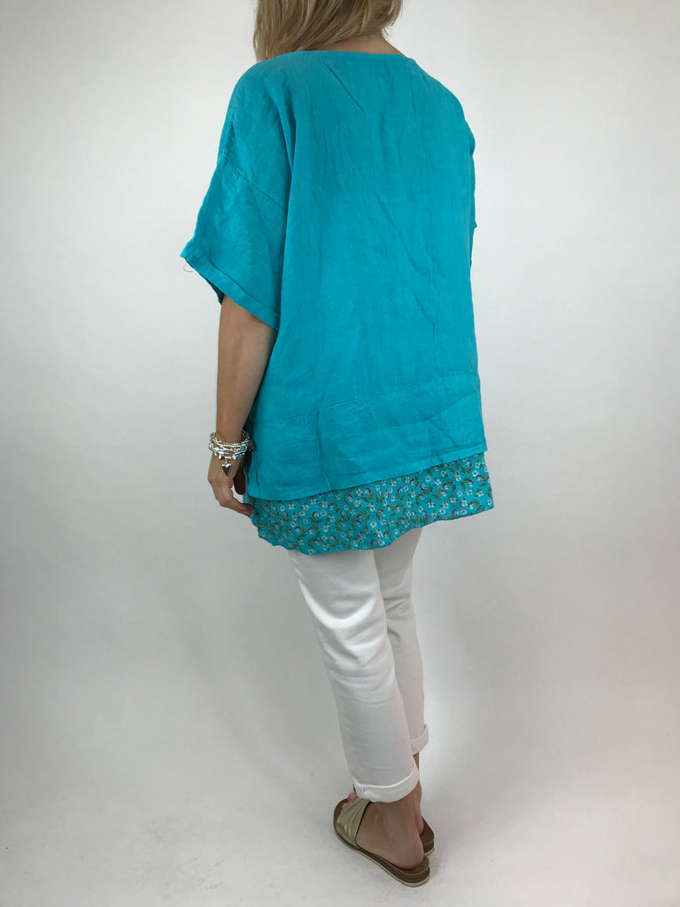 Lagenlook Ditsy Flower Hem Summer Top in Aqua Blue . code A1362