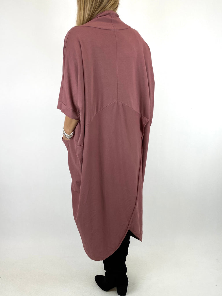 Lagenlook Mena Wrap Dress Top in Dark Pink. code 8307