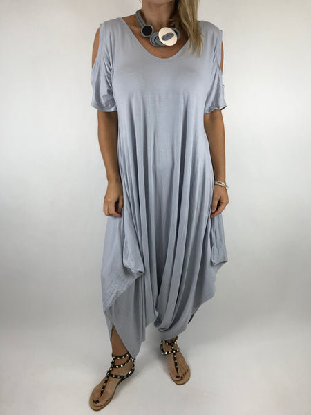 Lagenlook Made in Italy Jersey Jump Suit in Pale Grey. code 1544