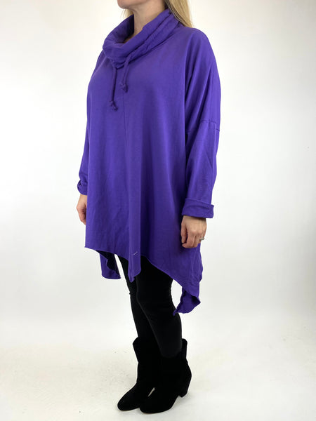 Lagenlook Tanner Plain Cowl Top in Purple. code 50003