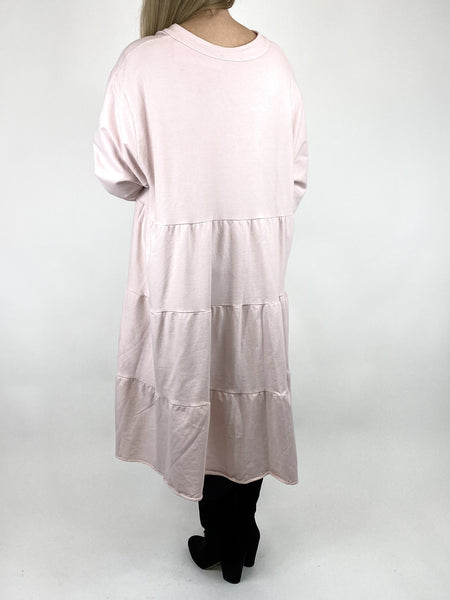 Lagenlook Olivia Frill V- Neck Top in Pale Pink. code 10538 - Lagenlook Clothing UK