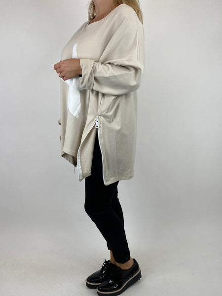 Lagenlook Star Zip Sweatshirt in Cream.code 91145 - Lagenlook Clothing UK